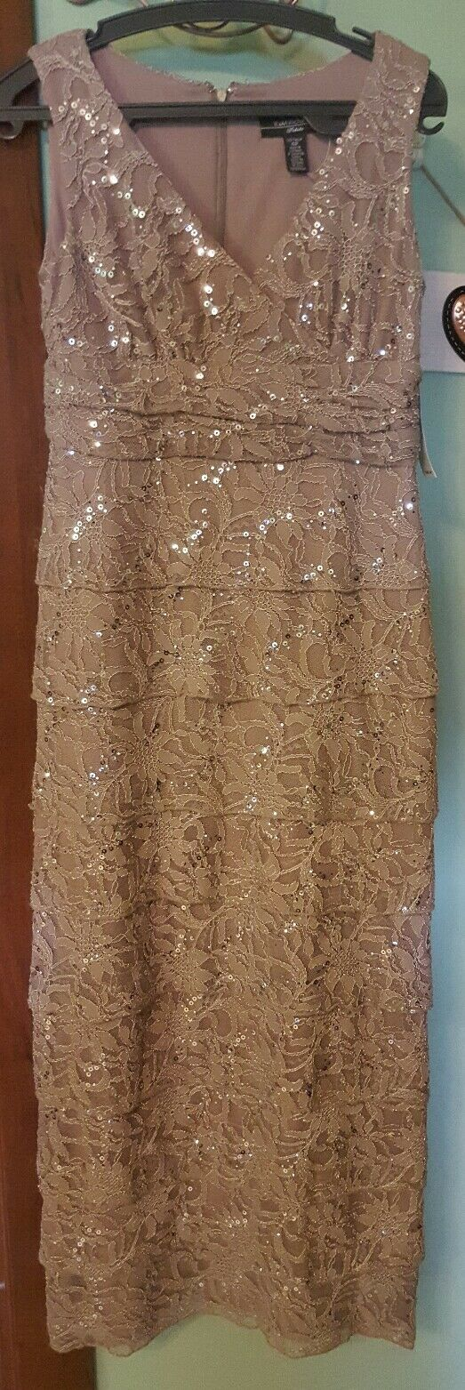 R&M RICHARDS Formal Dress Size 4PMochaSequins-Lace -NWT Fancy GLOBAL SHIPPING