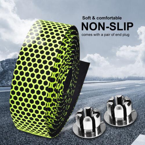 2x Bike Cycling Road Bike Sports Cork Handlebar Foam Tape Wrap w// Bar Ends SD