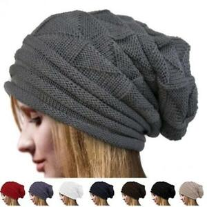 4f20d878205 Women Winter Warm Knit Men Baggy Beanie Oversize Ski Hat Slouchy Cap ...