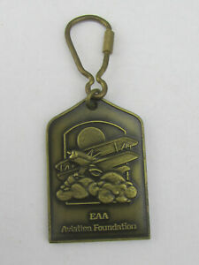 Vintage-EAA-Aviation-Foundation-Metal-Airplane-Keychain