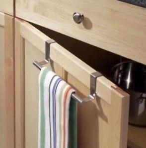 over door tea towel holder rack bathroom rail hanger kitchen rh ebay co uk Kitchen Towel Rack Under Cabinet Kitchen Cabinet Door Towel Bar