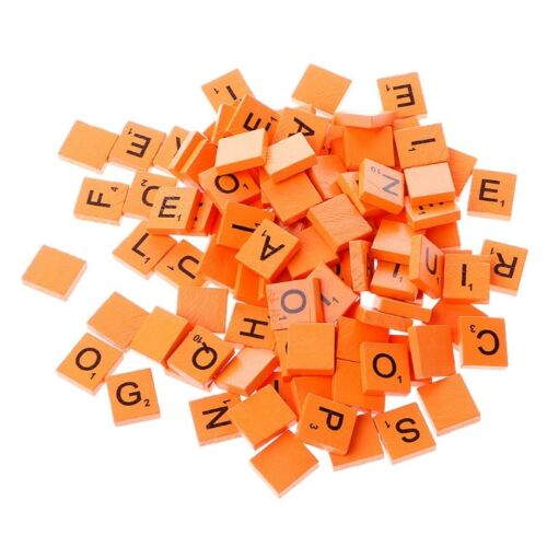 100X New Wooden Alphabet Scrabble Tiles Black Letters /& Numbers For Wood Crafts