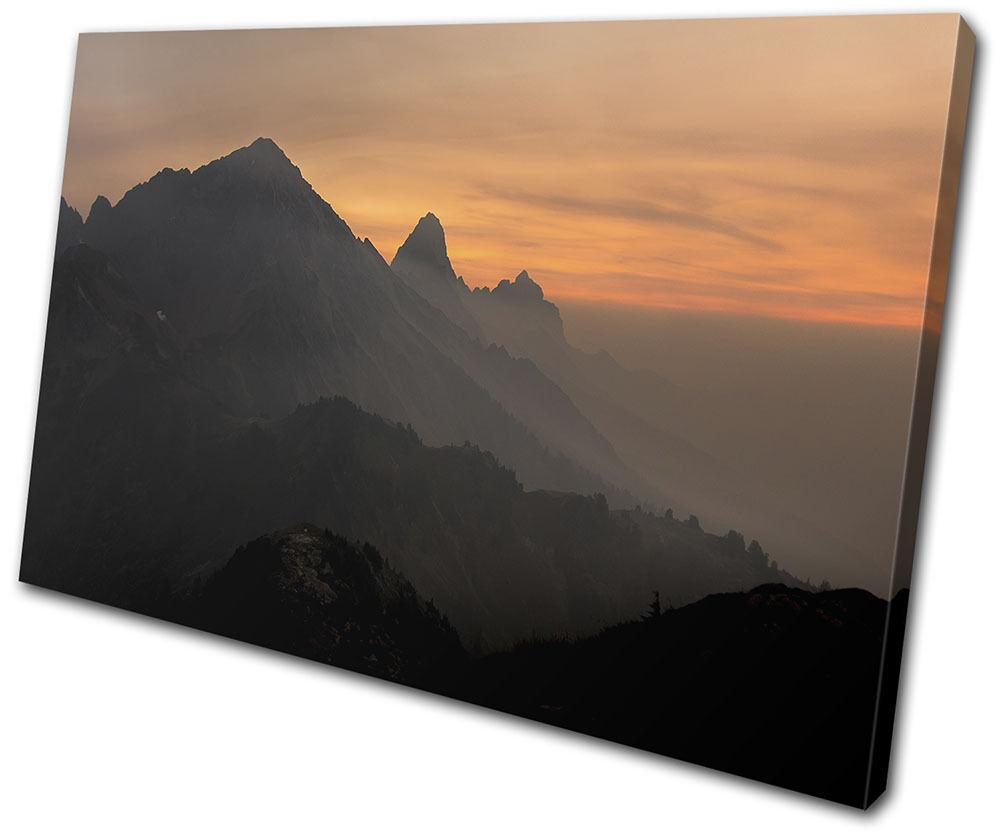 Mountain Sunset Landscapes SINGLE TOILE murale ART Photo Print