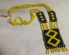 """Vintage Native American Yellow Black Glass Seed Bead 22"""" Slipover Necklace"""
