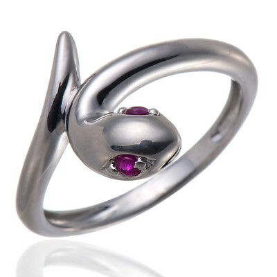 Solid Sterling Silver 925 Ruby Snake Ring, Women's Jewelry, Great Gift