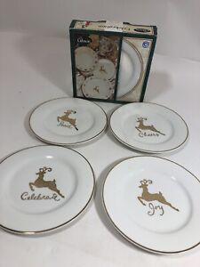 GIBSON-CELEBRATION-4-Dessert-Plate-Vintage-Ceramic-Holiday-Cheer-Peace-Christmas