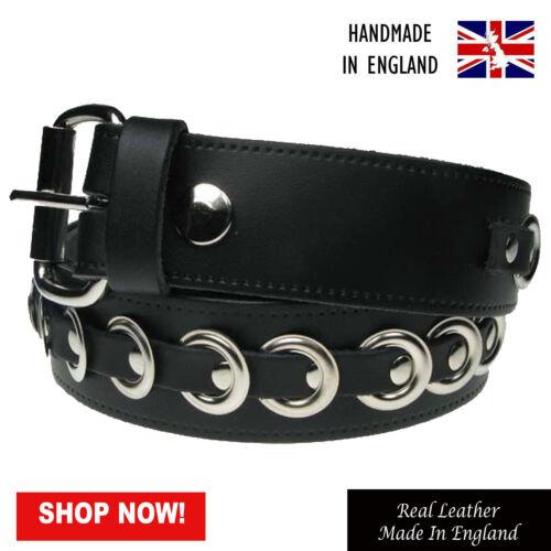 "38mm Eyelet Studded Design Real Leather Handmade Belt In England Sizes 28/""-44/"""