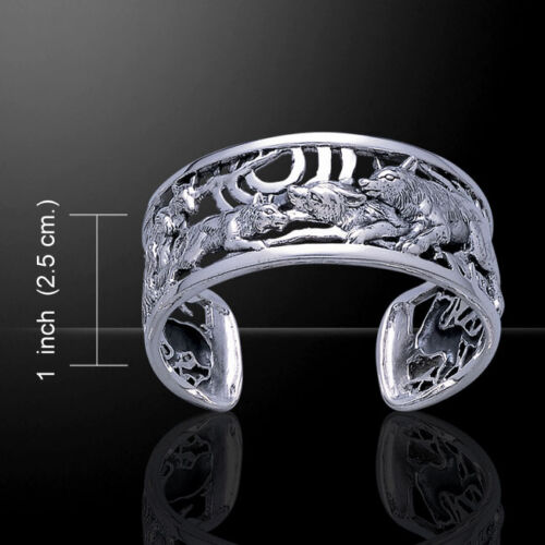 Wolf Wolfpack Sterling Silver Bangle Bracelet by Peter Stone Jewelry