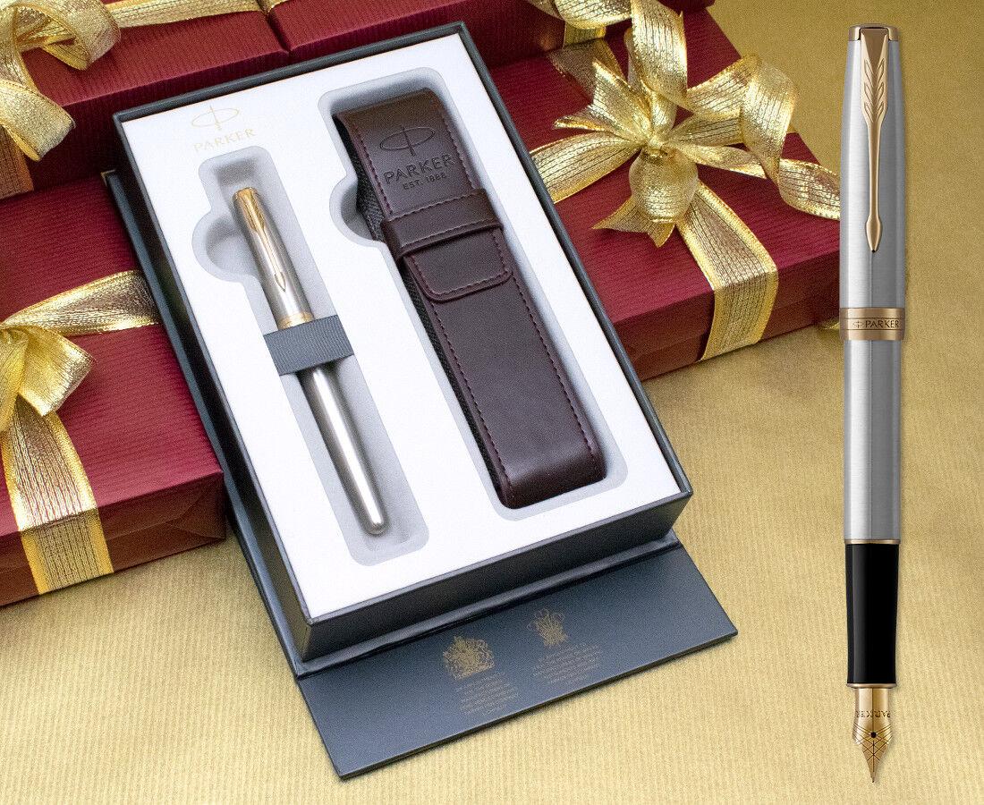 Parker Sonnet Fountain Pen Gift Set - Stainless Steel gold Trim