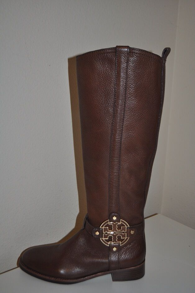 Sz 5   35 NEW Tory Burch Amanda Tall Flat Riding Boots Brown Almond Leather  525