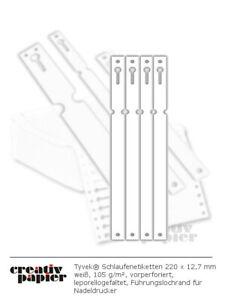 Tyvek Schlaufenetiketten 220x12,7 mm div. Farben 105 g/m² für Nadeldrucker/Hand