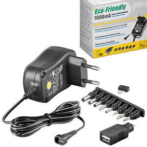 NETZTEIL - 1000mA - 8 x Adapter + USB - 3.0 / 4.5 / 5.0 / 6.0 / 7.5 / 9.0 / 12 V