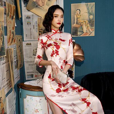 Chinese Traditional Cheongsam  Women Silk Long Dress Prom Qipao  Size S-2XL