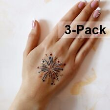 4th of July Fireworks Temporary Tattoos for Adults 3 Pack in Red Blue Gold Color