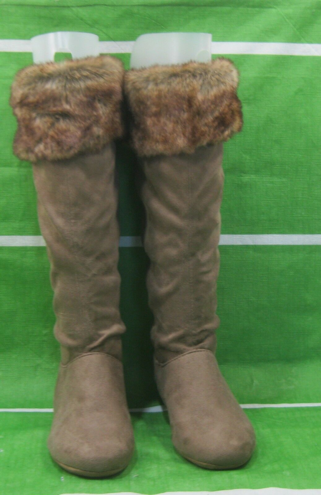 NEW LADIES LIGHT Brown Slouch Fur Sexy Knee Boot Top Fur Slouch Round Toe Size 5.5 f33b77