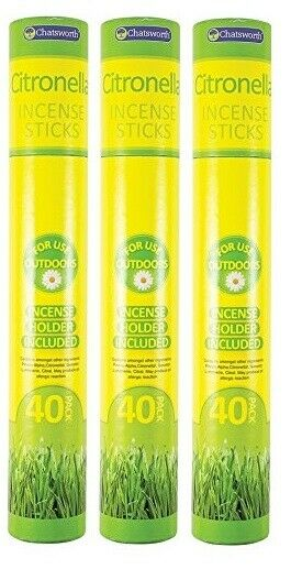3x Chatsworth Citronella Incense Sticks With Holder Insect Replant 40 Sticks
