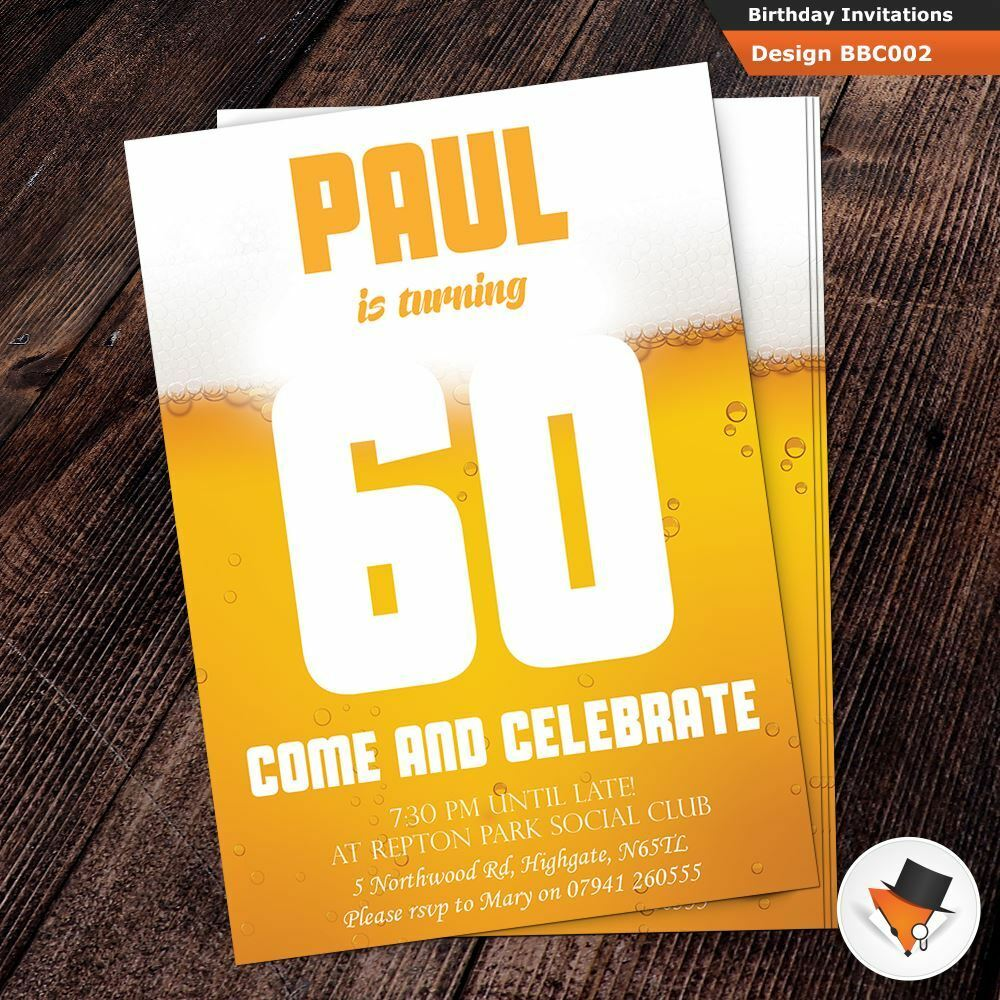 Mens personalised birthday party invitation with free env & proof Dad Uncle