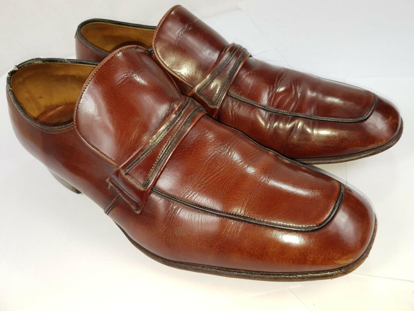 BARKER NOVAS Hand Lasted Genuine Leather Mens Brown Slip On Shoes UK 8 Pre-worn