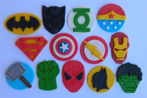 13 edible SUPER HERO INSPIRED cake topper CUPCAKE DECORATIONS batman superman