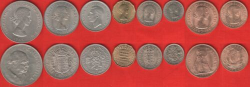 Great Britain set of 8 coins 1 crown 1947-1967 UNC 1//2 penny