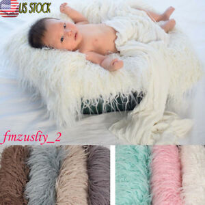 soft faux fur rug mat newborn baby photography props blanket basket