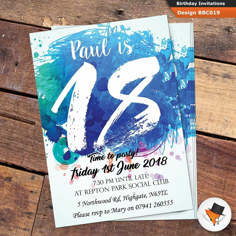 Personalised birthday invitations invites + envs 16th 18th 21st 30th 40th