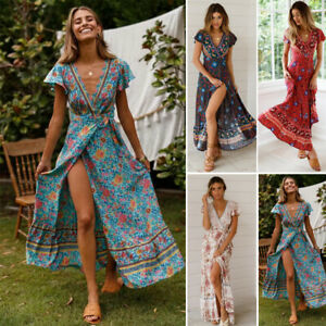 1015cdd38a1 New Women Boho Floral Long Maxi Wrap Dress Evening Party Beach ...