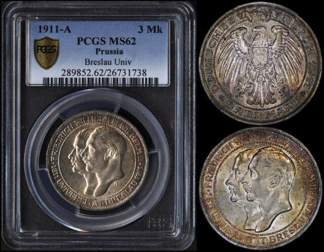 GERMAN EMPIRE (PRUSSIA) 3 MARK 1911-A (PCGS MS62) *BEAUTIFULLY TONED*