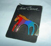 Vintage Laurel Burch caballo Horse Enamel Cloisonne Goldtone Pin Brooch