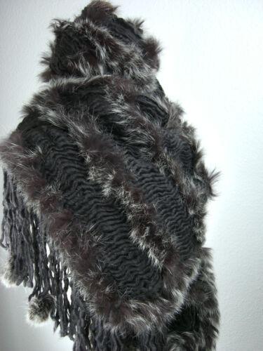 SCIARPA Grob a maglia con Echt PELZ conigli sciarpa con pelzdeco da sospendeva NUOVO sgk-02