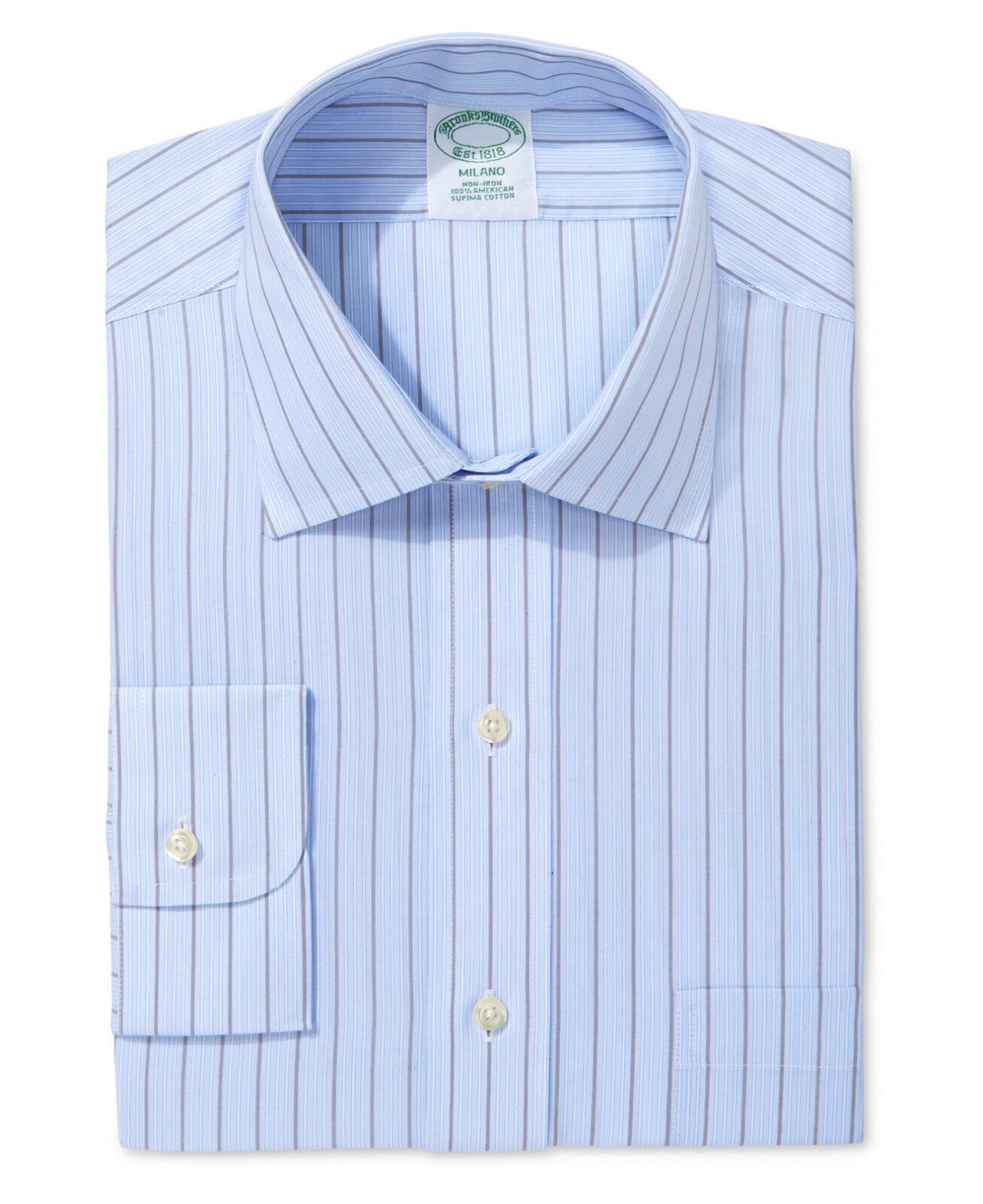 NWT BROOKS BredHERS Milano Extra Slim Fit Non-Iron Stripe Dress Shirt Sz 17 33