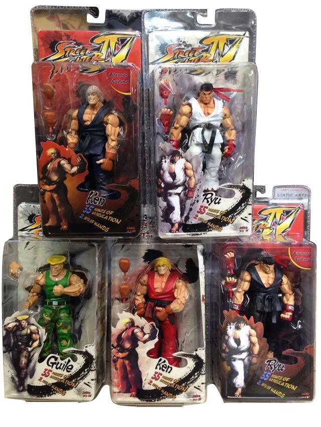 5 PCS SET 7  Street Fighter Warrior Series Action Figure Collectible Model Toy