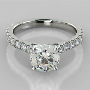 2.32 Ct Round Genuine Moissanite Engagement Ring 14K Solid White Gold Size 9.5