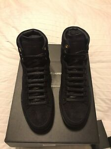 10a3f81922 Details about New Authentic YSL Saint Laurent Men Suede High Top Sneakers  Shoes Navy 7 $690