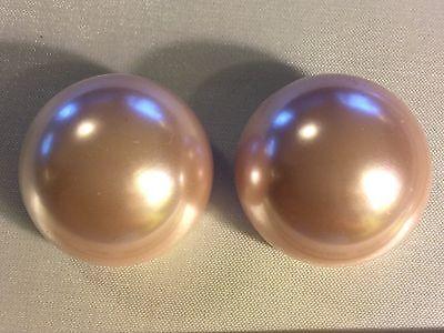 "Vintage LES BERNARD Pale Pink Faux Pearl Earrings Clip on back 1"" Haute Couture"