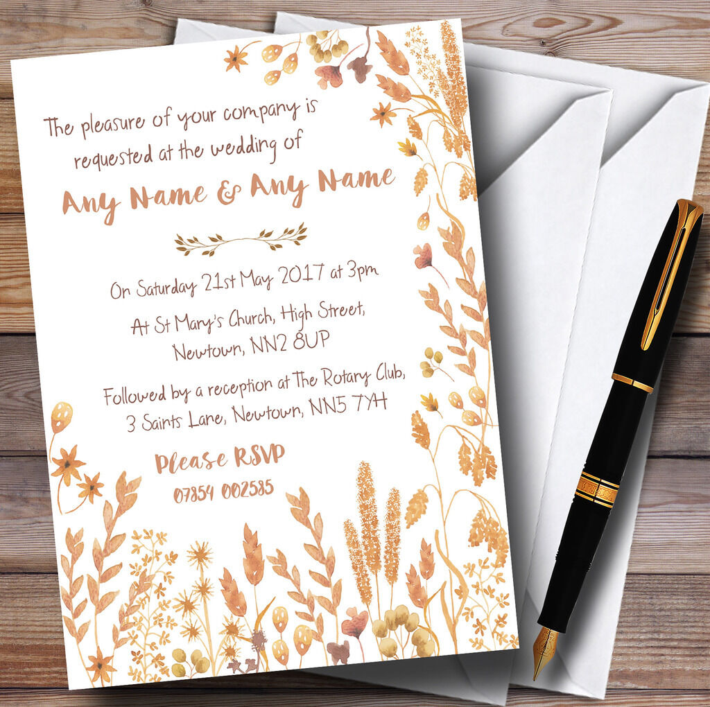 Golden Autumn Leaves Watercolour Personalised Wedding Invitations