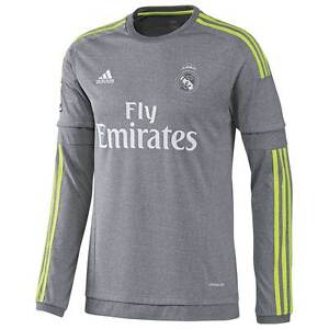 check out b4e66 0cabf Details about ADIDAS REAL MADRID LONG SLEEVE AWAY JERSEY 2015/16.