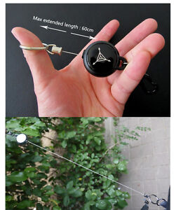 EDC-60cm-Steel-Wire-Rope-Retractable-Carabiner-Survival-Keychain-Keyring