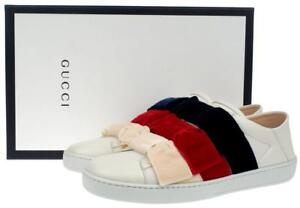 12b0ed503 NEW GUCCI CURRENT ACE LEATHER & VELVET BOW SLIP-ON SNEAKERS SHOES 38 ...