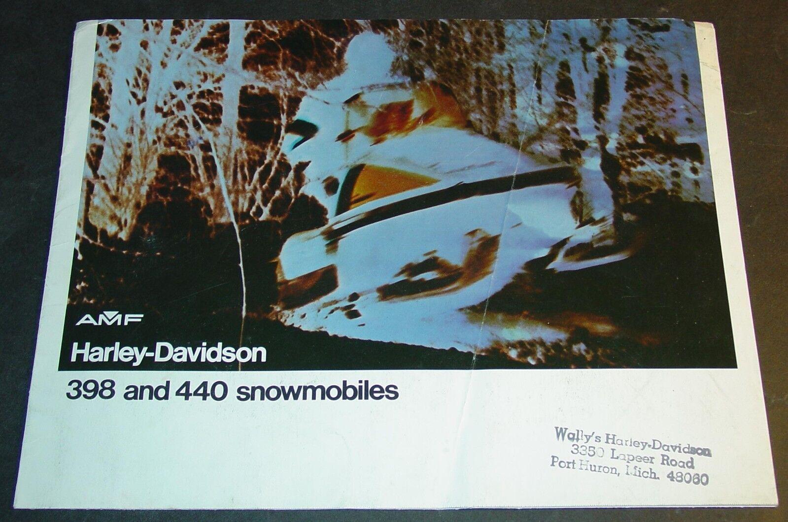1974 AMF HARLEY-DAVIDSON SNOWMOBILE BROCHURE NICE 4 PG  (468)