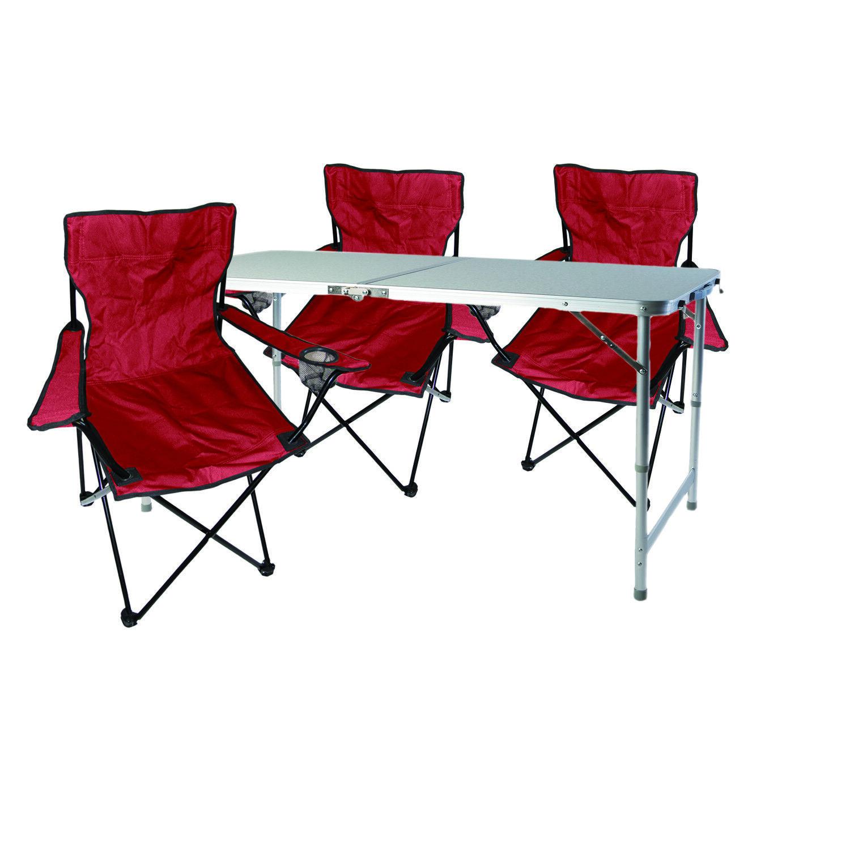 4tlg. Campingmöbel Set rot Tisch mit Tragegriff höhenverstellbar Stühle Tasche