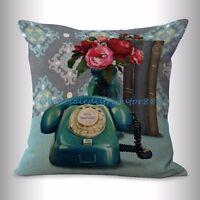 Us Seller- Cheap White Pillow English Vintage Flower Telephone Cushion Cover