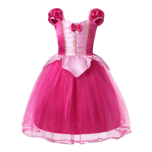 Girls Aurora Princess Costume Drop Shoulder Party Gown Fancy Dress Up Clothes