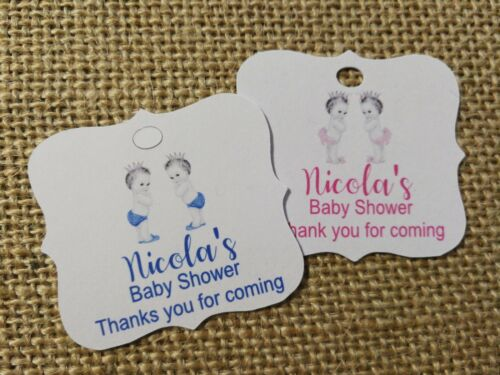 Customised Baby Shower Tags Twins Candle Wee Tags Wine Tags Sweets Gift Tags 30x