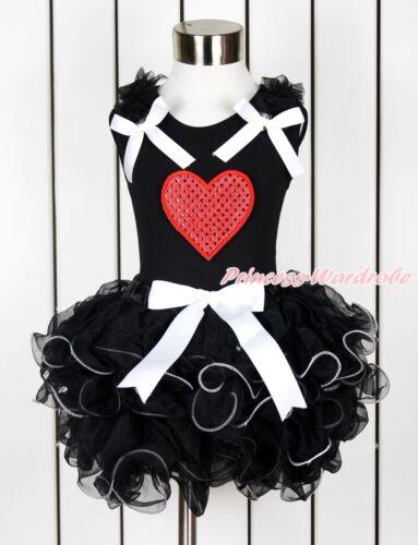 Valentine Sparkle Hot Red Heart Baby Girl Black Top Black Petal Pettiskirt NB-8Y