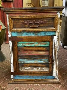 Rustic Multi Color Louvered Nightstand Solid Wood Shabby