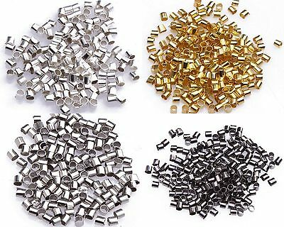 Wholesale 500pcs Silver Plated/Golden Tube Bead Crimp End Spacer Beads 2mm