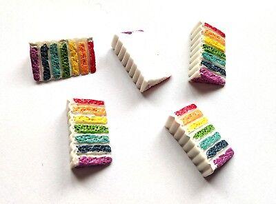 5 pcs rainbow cake charm plastic kawaii cute 21mm tall flatback