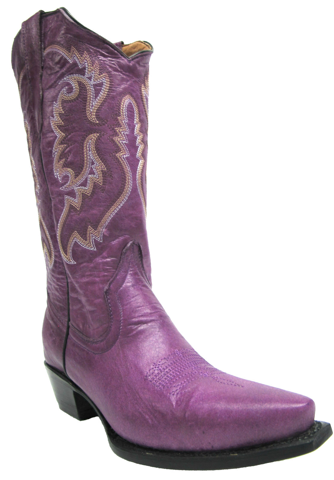 Women's New Distressed Leather Cowgirl Western Riding Boots Snip Toe Purple