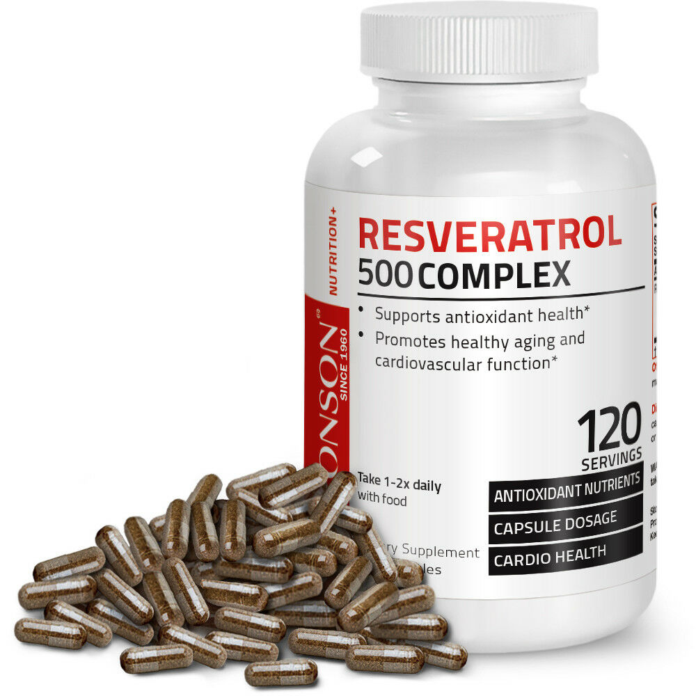 Resveratrol 500 Complex Red Wine Extract Antioxidant Heart Health, 120 Capsules 1